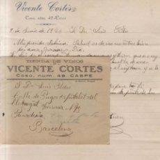 Sellos: AÑO 1926 SOBRE + CARTA DE CASPE A BARCELONA MEMBRETE DE VICENTE CORTES. Lote 206265512