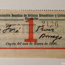 Sellos: ASOCIACIÓN ARTISTAS DRAMÁTICOS LÍRICOS. CUOTA ENERO 1908. Lote 206862118