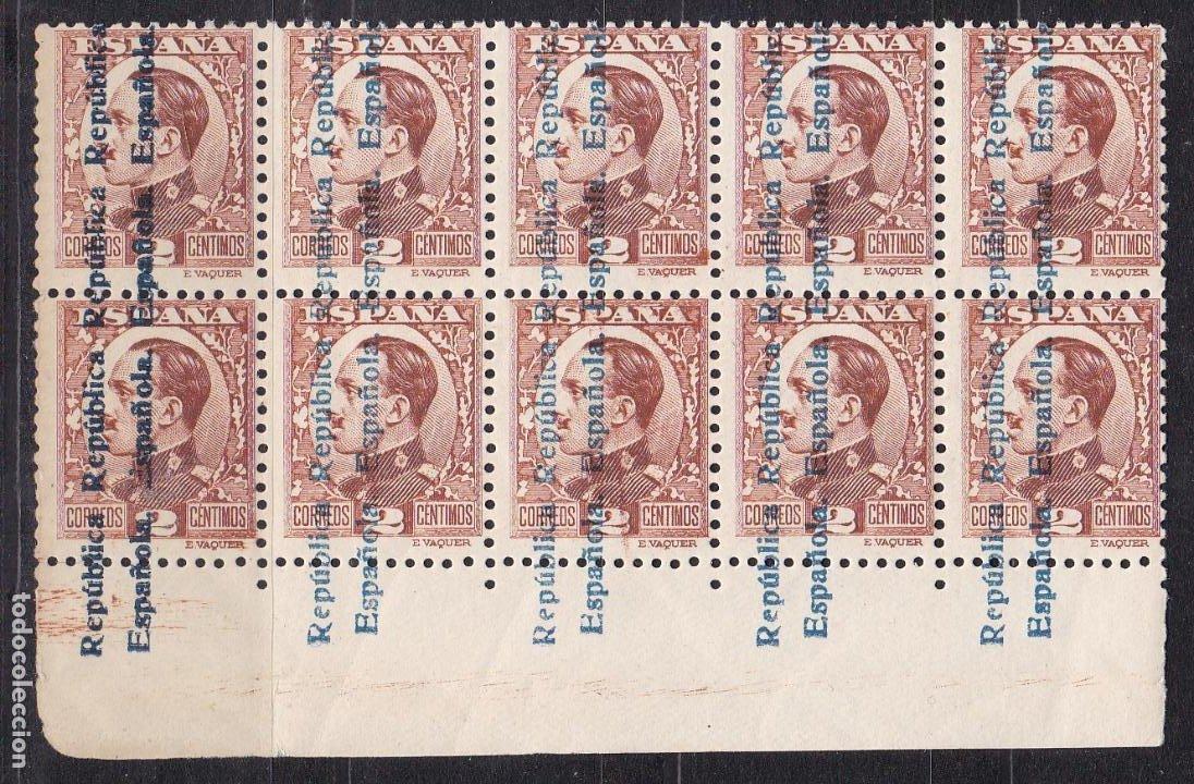 HP6-1- ALFONSO XIII REPÚBLICA EDIFIL 593 BLOQUE DE 10. VARIEDAD SOBRECARGA .** SIN FIJASELLOS (Sellos - España - Alfonso XIII de 1.886 a 1.931 - Nuevos)