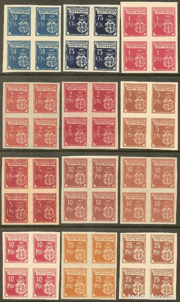 Sellos: Fiscales - BARCELONA. INQUILINATO HOTELES (12 PRUEBAS EN BLQ. DE 4) 1927 - Foto 2 - 44965590