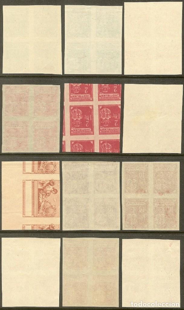 Sellos: Fiscales - BARCELONA. INQUILINATO HOTELES (12 PRUEBAS EN BLQ. DE 4) 1927 - Foto 3 - 44965590