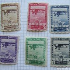 Sellos: ESPAÑA, N°448/53 MH, SEVILLA AÉREA 1929 (FOTOGRAFÍA REAL). Lote 206994981