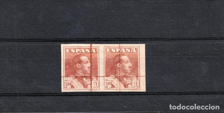 PAREJA ALFONSO XIII 1922 SIN DENTAR SIN GOMA RAYADO HORIZONTAL Y VERTICAL (Sellos - España - Alfonso XIII de 1.886 a 1.931 - Nuevos)