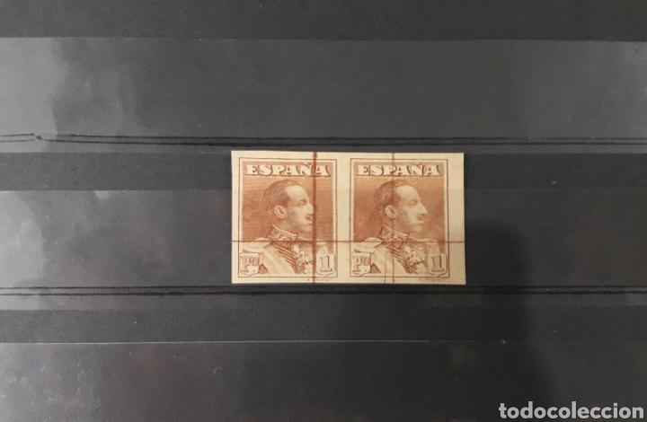 Sellos: PAREJA ALFONSO XIII 1922 SIN DENTAR SIN GOMA RAYADO HORIZONTAL Y VERTICAL - Foto 3 - 209260373