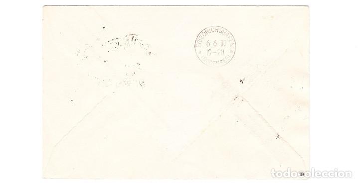 Sellos: 1930 CORREO AÉREO GRAF ZEPPELIN SEVILLA A FRIEDRICHSHAFEN 4 SELLOS ALFONSO XIII VAQUER ERROR DENTADO - Foto 2 - 209779660