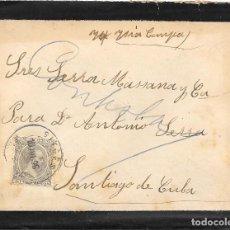 Francobolli: PELON EDIFIL 222. SOBRE CIRCULADO DE SITGES A SANTIAGO DE CUBA 1896. Lote 210382135