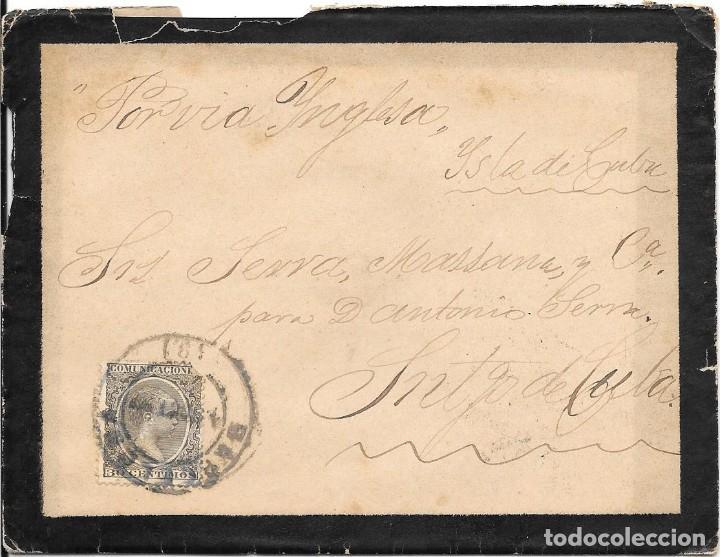 PELON. EDIFIL 222. SOBRE CIRCULADO DE BARCELONA A SANTIAGO DE CUBA 1897 (Sellos - España - Alfonso XIII de 1.886 a 1.931 - Cartas)