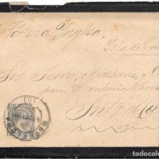 Sellos: PELON. EDIFIL 222. SOBRE CIRCULADO DE BARCELONA A SANTIAGO DE CUBA 1897. Lote 210383400