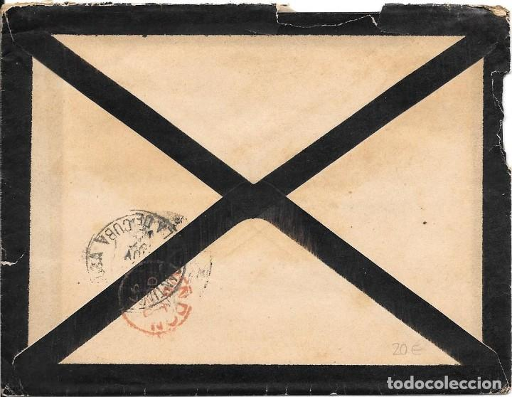 Sellos: PELON. EDIFIL 222. SOBRE CIRCULADO DE BARCELONA A SANTIAGO DE CUBA 1897 - Foto 2 - 210383400