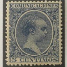Sellos: 1889-ESPAÑA ALFONSO XIII PELÓN EDIFIL 215 MH* 5 CÉNTIMOS AZUL - NUEVO -. Lote 210385917