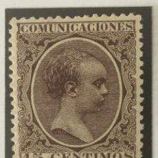 Sellos: 1889-ESPAÑA ALFONSO XIII PELÓN EDIFIL 219 MH* 15 CÉNTIMOS CASTAÑO - NUEVO -. Lote 210388018