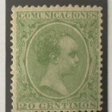 Sellos: 1889-ESPAÑA ALFONSO XIII PELÓN EDIFIL 220 MH* 20 CÉNTIMOS VERDE - NUEVO -. Lote 210388267
