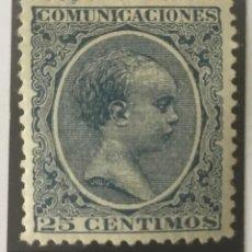 Sellos: 1889-ESPAÑA ALFONSO XIII PELÓN EDIFIL 221 MH* 25 CÉNTIMOS AZUL - NUEVO -. Lote 210388495