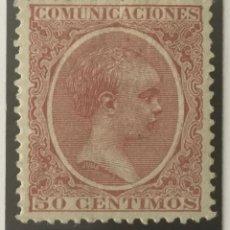 Sellos: 1889-ESPAÑA ALFONSO XIII PELÓN EDIFIL 224 MH* 50 CÉNTIMOS ROSA CARMÍN - NUEVO -. Lote 210389220