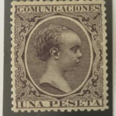 Sellos: 1889-ESPAÑA ALFONSO XIII PELÓN EDIFIL 226 MNH** 1 PESETA VIOLETA - NUEVO SIN CHARNELA-. Lote 210389750