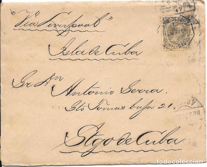 PELON. EDIFIL 222. SOBRE CIRCULADO BARCELONA A SANTIAGO DE CUBA 1896 (Sellos - España - Alfonso XIII de 1.886 a 1.931 - Cartas)