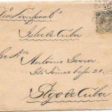 Sellos: PELON. EDIFIL 222. SOBRE CIRCULADO BARCELONA A SANTIAGO DE CUBA 1896. Lote 210403931