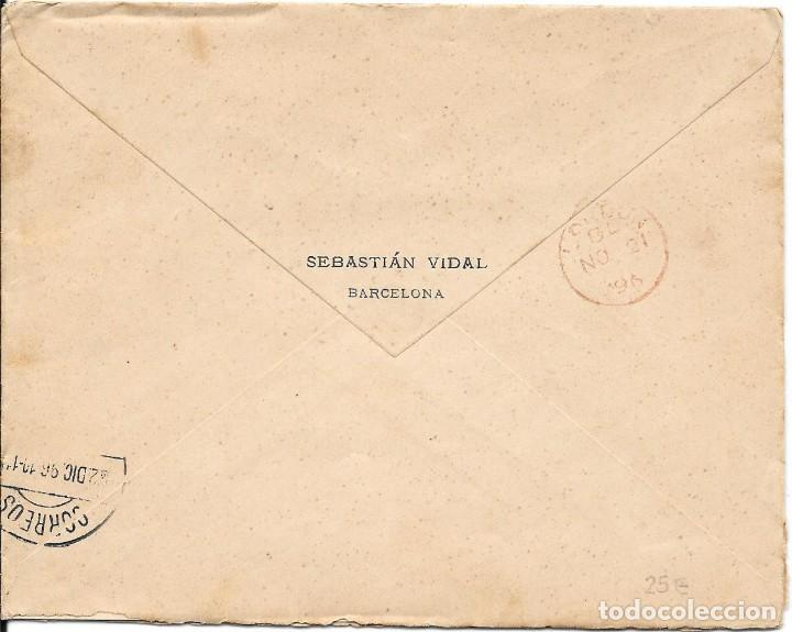 Sellos: PELON. EDIFIL 222. SOBRE CIRCULADO BARCELONA A SANTIAGO DE CUBA 1896 - Foto 2 - 210403931