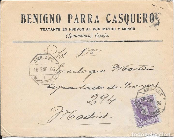 EDIFIL 243. CADETE. SOBRE CIRCULADO DE ESPEJA A MADRID. 1906 (Sellos - España - Alfonso XIII de 1.886 a 1.931 - Cartas)