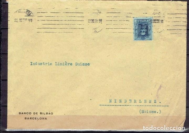 SOBRE COMERCIAL BANCO DE BILBAO BARCELONA 1926. SELLO EDIFIL 319 ALFONSO XIII. TIPO VAQUER (Sellos - España - Alfonso XIII de 1.886 a 1.931 - Cartas)