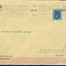 Sellos: SOBRE COMERCIAL BANCO DE BILBAO BARCELONA 1926. SELLO EDIFIL 319 ALFONSO XIII. TIPO VAQUER. Lote 211787667