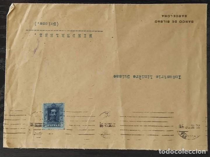 Sellos: SOBRE COMERCIAL BANCO DE BILBAO BARCELONA 1926. SELLO EDIFIL 319 ALFONSO XIII. TIPO VAQUER - Foto 2 - 211787667