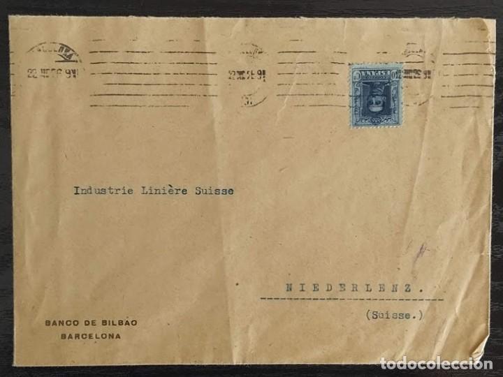 Sellos: SOBRE COMERCIAL BANCO DE BILBAO BARCELONA 1926. SELLO EDIFIL 319 ALFONSO XIII. TIPO VAQUER - Foto 3 - 211787667