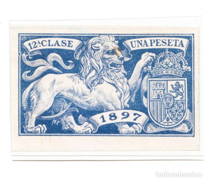 SELLO FISCAL 12 A CLASE 1897 UNA PESETA AZUL (Sellos - España - Alfonso XIII de 1.886 a 1.931 - Usados)