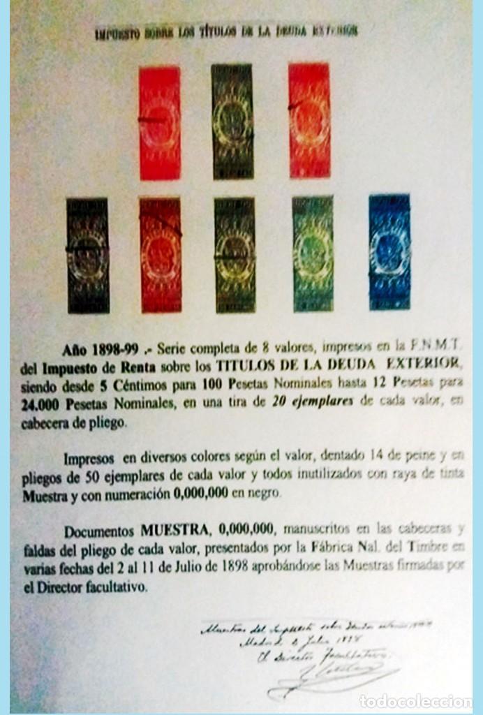 1898-99.ALFONSO XIII. CABECERAS DE 8 DOC. MUESTRA DE -DEUDA EXTERIOR- DESDE 5 CTS, 1 A 12 PTAS. IRPF (Sellos - España - Alfonso XIII de 1.886 a 1.931 - Nuevos)