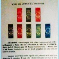 Sellos: 1898-99.ALFONSO XIII. CABECERAS DE 8 DOC. MUESTRA DE -DEUDA EXTERIOR- DESDE 5 CTS, 1 A 12 PTAS. IRPF. Lote 215293808