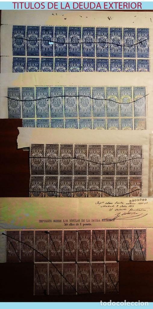 Sellos: 1898-99.ALFONSO XIII. CABECERAS DE 8 DOC. MUESTRA de -DEUDA EXTERIOR- DESDE 5 CTS, 1 A 12 PTAS. IRPF - Foto 3 - 215293808