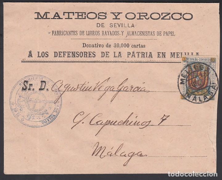 SOBRE, MELILLA A MÁLAGA, CON FRANQUICIA MILITAR, MARCA, REGIMIENTO DE INFANTERÍA DE TOLEDO. (Sellos - España - Alfonso XIII de 1.886 a 1.931 - Cartas)