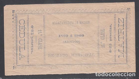 1899 - 1900 CÉDULA RECARGO MUNICIPAL AYUNTAMIENTO DE MADRID, 0,25 CTS AZUL (Sellos - España - Alfonso XIII de 1.886 a 1.931 - Nuevos)