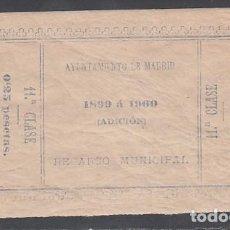 Sellos: 1899 - 1900 CÉDULA RECARGO MUNICIPAL AYUNTAMIENTO DE MADRID, 0,25 CTS AZUL. Lote 215575512