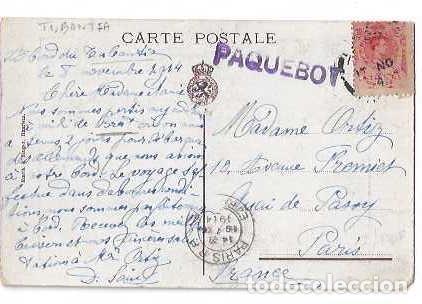 Sellos: 1914 PAQUEBOT DUTCH LINER SS TUBANTIA POSTCARD - RARA TARJETA MARCA PAQUEBOT TUBANTIA - Foto 2 - 215818362