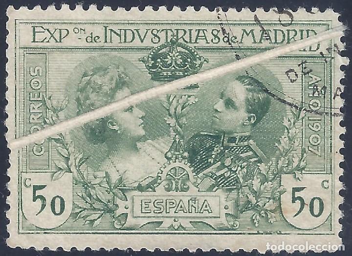 EDIFIL SR4 EXPOSICIÓN DE INDUSTRIAS DE MADRID 1907 (VARIEDAD...GRAN FUELLE). NO CATALOGADO. LUJO. (Sellos - España - Alfonso XIII de 1.886 a 1.931 - Usados)