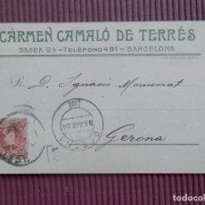 Sellos: TARJETA COMERCIAL AÑO 1904 VIDRIOS CARMEN CAMALLÓ DE TERRÉS BARCELONA BONITO REVERSO PUBLICITARIO. Lote 216696365