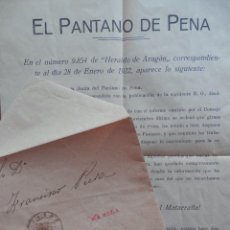Francobolli: CARTA AÑO 1922 MATASELLO CASPE CON DENUNCIA SOBRE EL PANTANO DE LA PENA MAELLA FABARA NONASPE. Lote 216788577