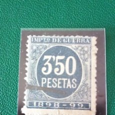 Sellos: SELLO NO CATALOGADO CIFRAS AZUL IMPUESTO DE GUERRA 3,50 PESETAS 1898 - 99. Lote 218117062