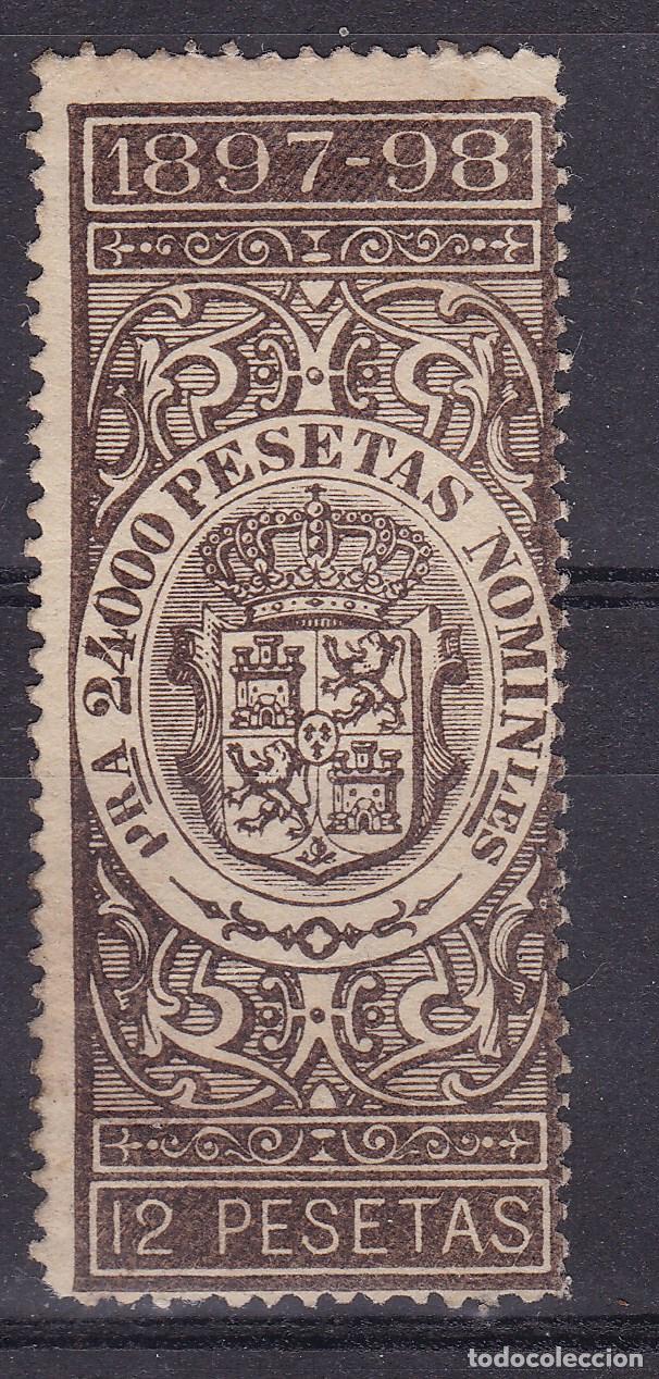 LL21- FISCALES GIRO 12 PTAS 1897/98. NUEVO* GOMA PARCIAL (Sellos - España - Alfonso XIII de 1.886 a 1.931 - Nuevos)