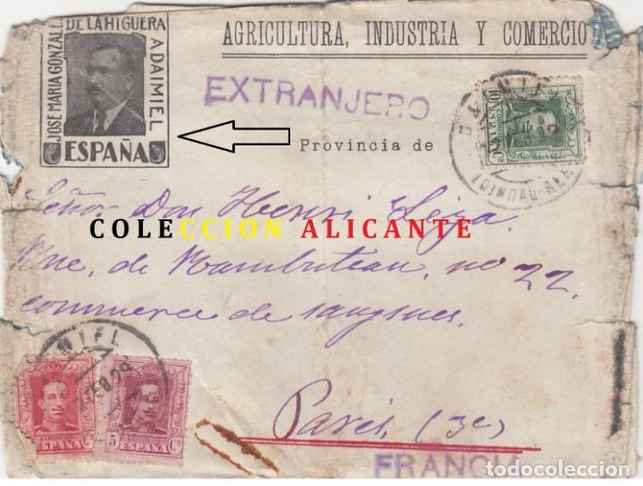 DAIMIEL - CIUDAD REAL CARTA PUBLICITARIA 1929 - VIÑETA PARTICULAR Y SOBRE IMPRESO CON PERSONAJE.RARA (Sellos - España - Alfonso XIII de 1.886 a 1.931 - Cartas)