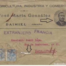 Sellos: DAIMIEL - CIUDAD REAL CARTA PUBLICITARIA AÑO 1922 SOBRE IMPRESO CON PERSONAJE.RARA. Lote 219756642