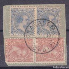 Timbres: LL35- ALFONSO XIII PELÓN FRAGMENTO USADOS GRAZALEMA (CÁDIZ). Lote 219921228