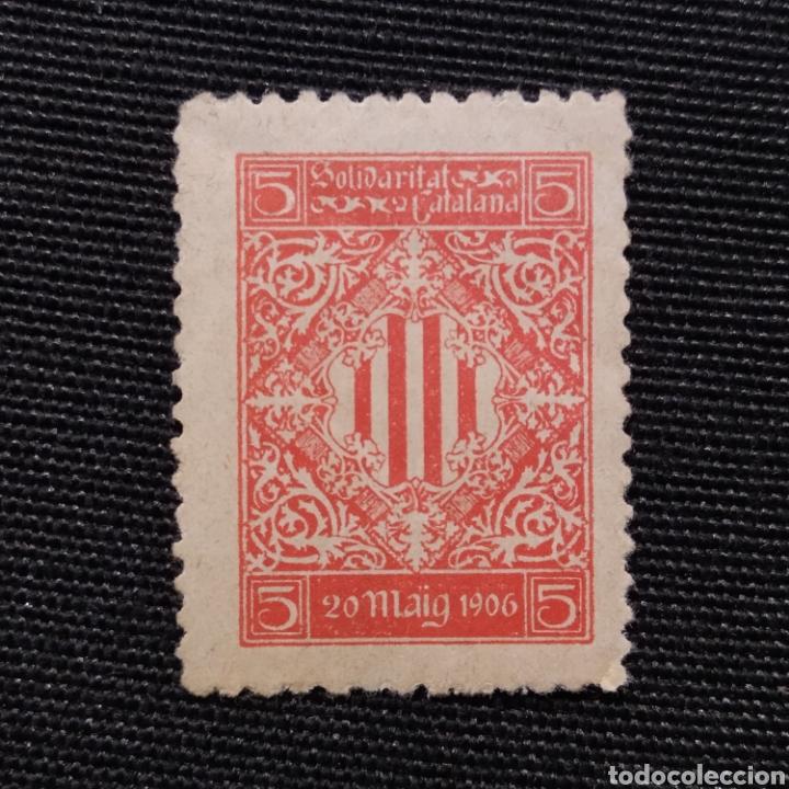 SELLO SOLIDARITAT CATALANA CONMEMORATIVO DE LA MANIFESTACIÓN DE PROTESTA, BARCELONA 20 DE MAYO 1906 (Sellos - España - Alfonso XIII de 1.886 a 1.931 - Nuevos)