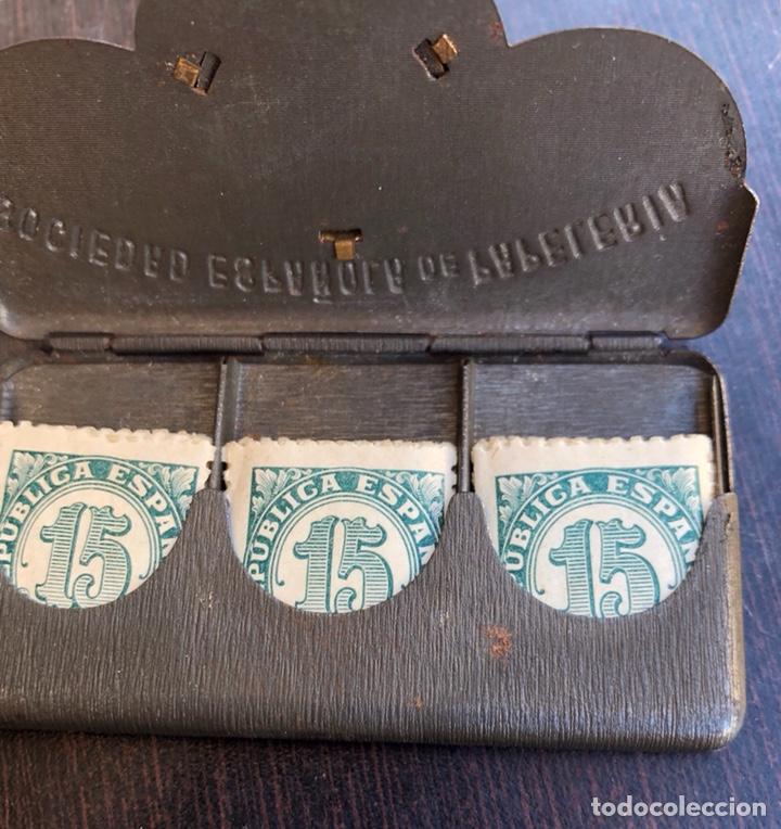 Sellos: Rara carterita metálica porta-sellos, fechado en 1909 - Foto 3 - 220249496