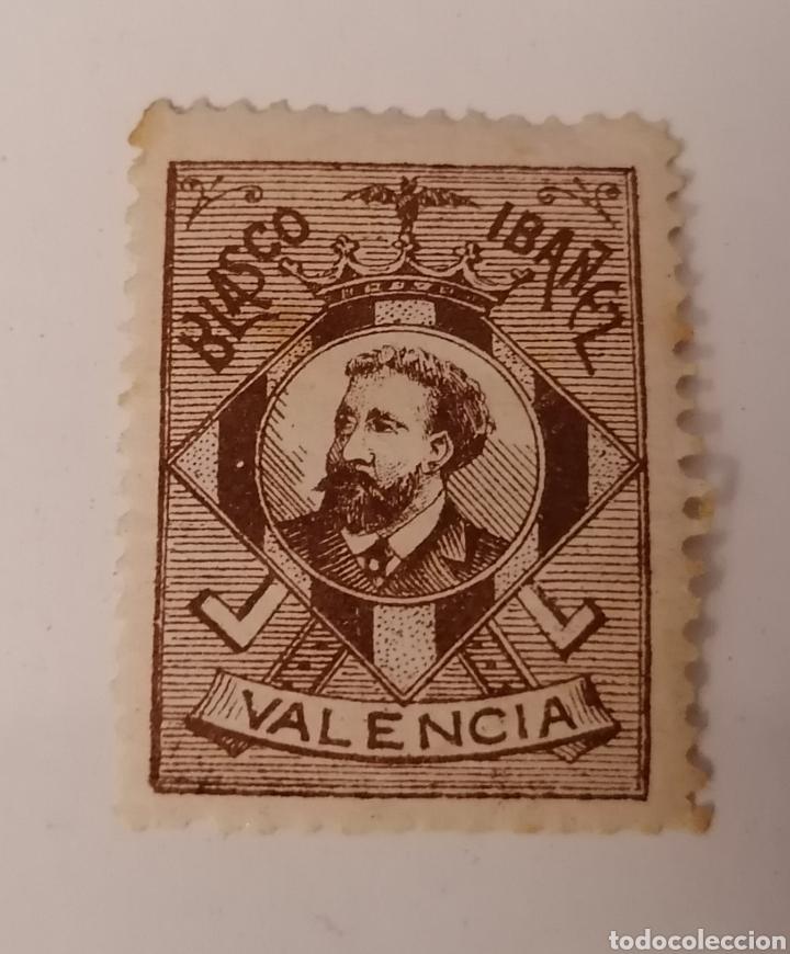 VALENCIA. BLASCO IBÁÑEZ. VIÑETA (Sellos - España - Alfonso XIII de 1.886 a 1.931 - Usados)