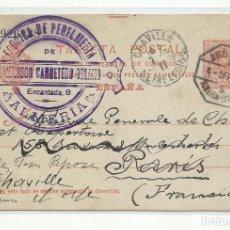 Sellos: CIRCULADA Y ESCRITA 1911 DE ALMERIA A PARIS Y REENVIADA A CHAVILLE FRANCIA CON AMBULANTE LINARES. Lote 221128811