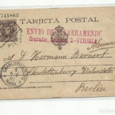 Sellos: CIRCULADA Y ESCRITA EXIGEN LETRA Ñ 1903 DE VITORIA A BERLIN ALEMANIA CON AMBULANTE NORTE. Lote 221129533