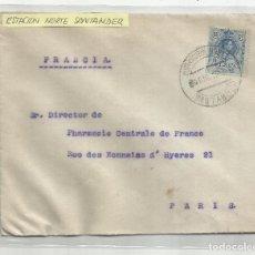 Sellos: CIRCULADA 1912 DE SANTANDER A PARIS CON FECHADOR ESTACION NORTE. Lote 221130368