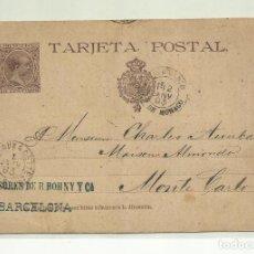 Sellos: CIRCULADA Y ESCRITA 1892 DE BARCELONA A MONTECARLO LLEGADA EL 1893. Lote 221130903